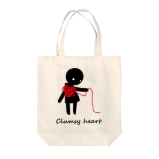 clumsy heart Tote bags