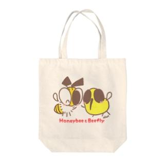 みつばち&つりあぶ イラストデザイン トートバッグ Tote bags