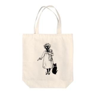 少女と黒猫 Tote bags