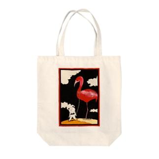 ペットのフラミンゴ Tote bags