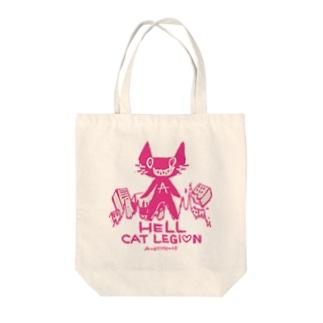 HELL CAT REGION Tote bags