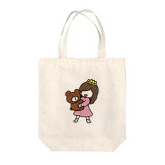 くまと女の子 Tote bags