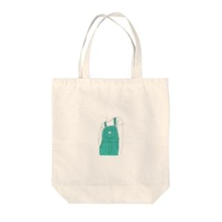 サロペット(グリーン) Tote bags