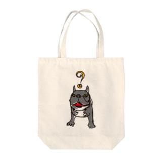 はてなフレンチ(黒) Tote bags