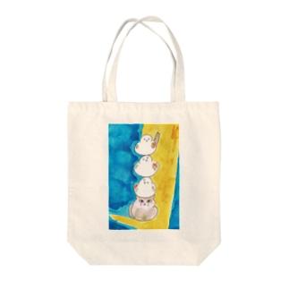 シマエナガ三重奏 Tote bags