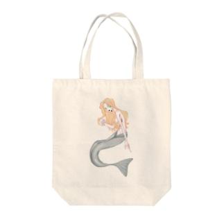 💤負け犬インターネット💤のにくしょくだよ人魚ちゃん Tote bags