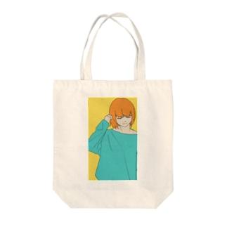 オレンジガール Tote bags