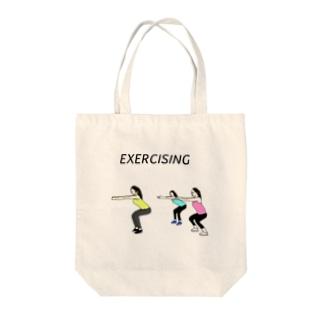 エクササイジング Tote bags