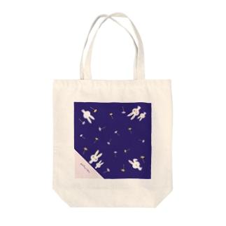 うさぎちゃん柄(ブルー) Tote bags