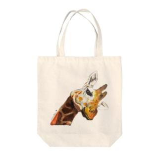 リアルきりんちゃん Tote bags