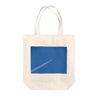 日本の空:飛行機雲 Blue sky: Contrail Tote bags
