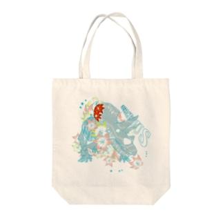 花と恐竜 カラフルver  Tote bags