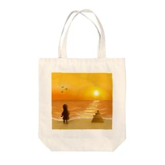 海に沈む夕陽【風景】 Tote bags