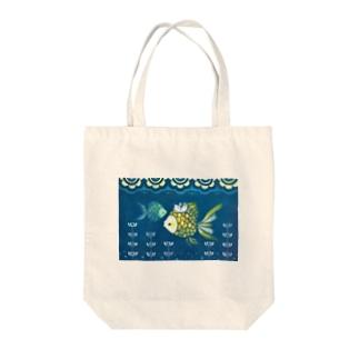 ネコとオサカナ Tote bags