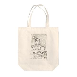 ヤノベケンジ《サン・チャイルド》(コマ割モノクロ) トートバッグ
