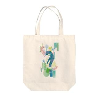 ペンギンTeaTime(ターコイズ) Tote bags