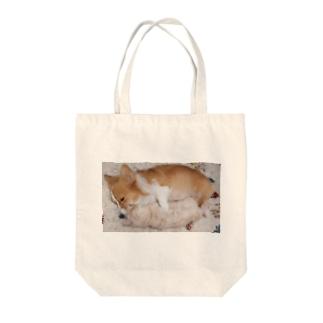 犬と猫だっこ Tote bags