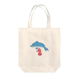 ジュリエットに首ったけ♡の10秒で描いたイルカとタコ Tote bags