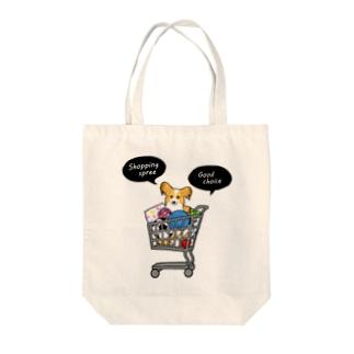 お買い物大好きパピヨンさん Tote bags