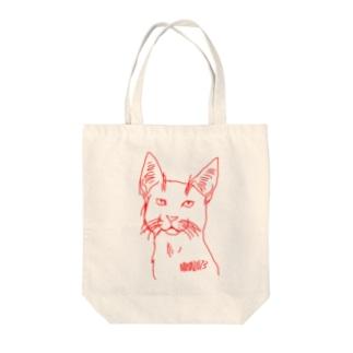 赤い線の猫 Tote bags