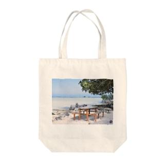 ミクロネシア:リーフが見える浜辺の風景 Micronesia: seaside of Pohnpei Tote bags