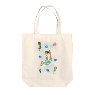 クラゲとマーメイド Tote bags