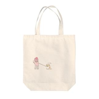 犬と赤ちゃんの散歩 Tote bags