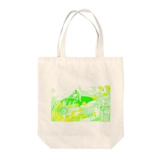 大窓ともこもこ魚 緑 Tote bags