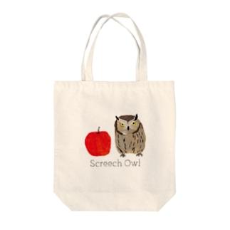 フクロウとリンゴ Tote bags