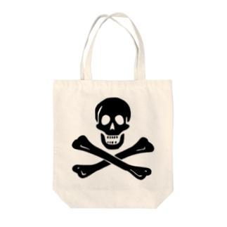 海賊旗スカル-Jolly Roger サミュエル・ベラミーの海賊旗-黒ロゴ Tote bags