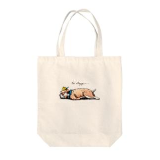 too sleepy Tote bags