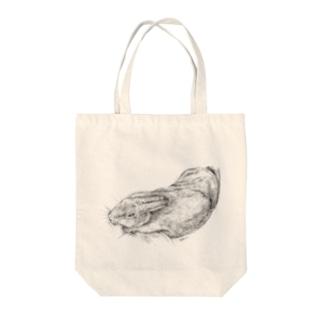 ウサギのドローイング @本田さとし Tote bags