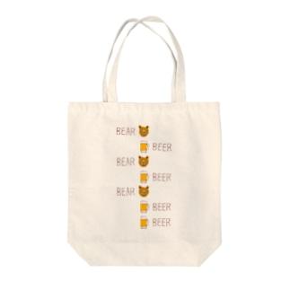 ビールデザインTシャツ「ベアビアベアビアベアビアビア」 Tote bags
