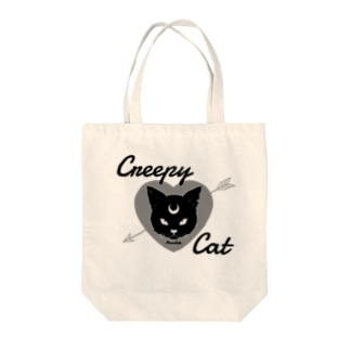 【MOON SIDE】 Creepy Cat #Black Ver.1 Tote bags