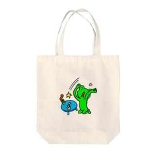 ちゃぶ台ひっくりカエル Tote bags