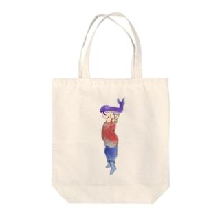 くじら人間ピース Tote bags