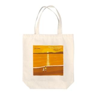 湘南デザイン室:Negishi Shigenoriの湘南ランドスケープ07:夕焼け、光の道 Tote bags
