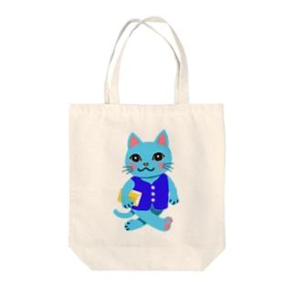 Smart scool cat Tote bags