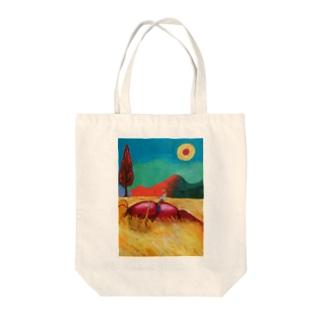 ザリガニコンバイン Tote bags