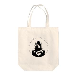 真夜ビバロゴ(黒) Tote bags