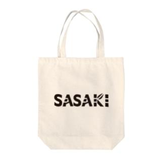 SASAKI vo.1 BLACK FONT  Tote bags