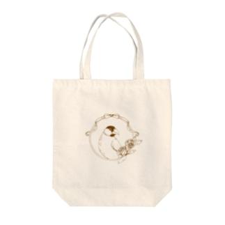 文鳥 アンティーク風 Tote bags