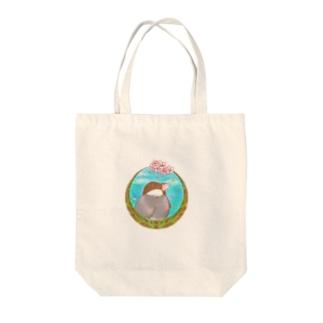 桜と桜文鳥 Tote bags