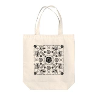 微生物 in ペイズリー(白黒) Tote bags