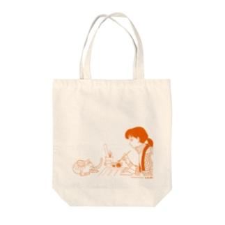 少女と猫 オレンジ(清原なつの先生) トートバッグ