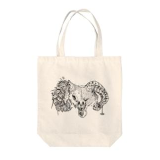 ひつじおおかみ ホワイト Tote bags