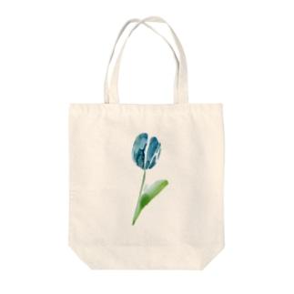 blue tulip Tote bags
