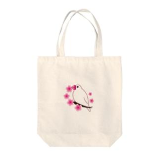 白文鳥と桜 Tote bags