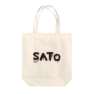 SATO vo.1 BLACK FONT  Tote bags