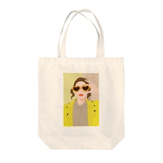 イエロー Tote bags